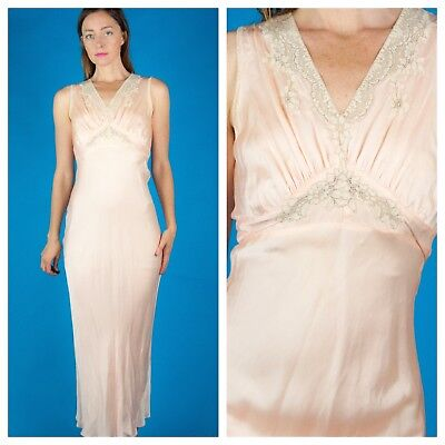 PEACH+CREAM Vtg 1930s Art Deco 30s Satin LACE Maxi Dress Gown Bias Cut XS/S