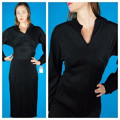 STRIPED SATIN Vtg 30s Deco Black V Neck Cocktail Evening Bias Cut Dress M/L