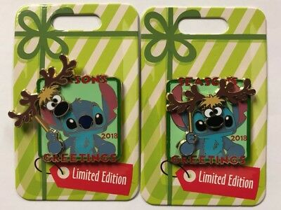 Disney Parks Stitch with Reindeer Mask 2018 Seasons Greetings LE Pin