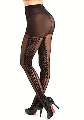 4f57adf5b1609 HUE Gotta Have It Control Top Side Floral Border Sheer Tights Size 2 Black  NWT