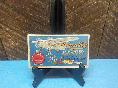 Antique Piccadilly Needle Case Folder Sewing Imported Gold Eye Propeller Plane