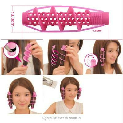 Self Hair Grip Curlers Rollers Pro Salon Hairdressing Spiral Circle Pink LC
