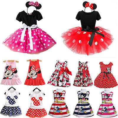 Girls Kids Mermaid Minnie Mouse Dress Birthday Cartoon Cosplay Ballet Tutu Skirt