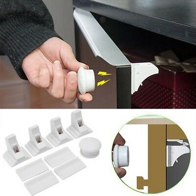 Invisible Magnetic Baby Child Pet Proof Cupboard Door Drawer Safety Lock Catch
