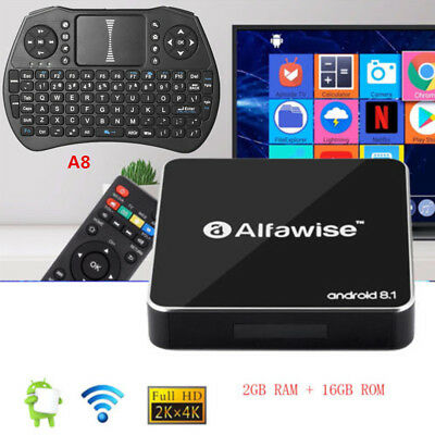 Alfawise A8 4K H.265 TV BOX Android 8.1 2.4G WiFi 2G+16G 3D Moive Media Player