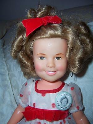 Vintage Ideal 1972 Vinyl Shirley Temple Doll Stand Up Cheer Dress Badge
