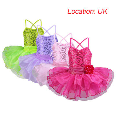 UK Warehouse Kids Girls Flower Sequin Ballet Tutu Dance Training Costume 2-12Y