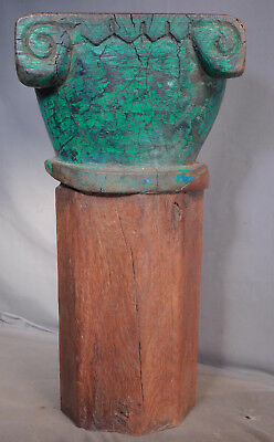 Antique Carved Wood Polygon Weathered Paint Gothic Column Architectural Fragment