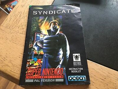 Syndicate Super Nintendo SNES Instruction Booklet Manual Only