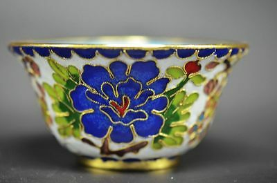 Chinese Archaize Cloisonne Hand-Made Pinch Silk Flowers Bowl