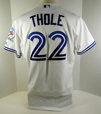 c00a59528 2016 Toronto Blue Jays Josh Thole  22 Game Used White Jersey 40th Anv Patch