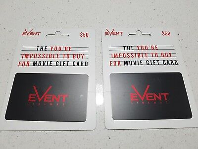 Event Cinemas Gift Cards  $50  x 2