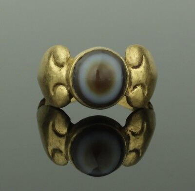 Ancient Roman Gold & Agate Ring - Circa 2Nd Century Ad   025