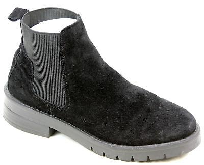 a9af5c2ca1c0 Womens Schuh Speedy Black Suede Pull On Chelsea Block Heel Ankle Boots Size  Uk 4