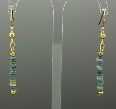 Beautiful Ancient Egyptian New Kingdom Faience Bead Earrings -1700 Bc 801