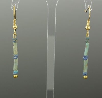 Beautiful Ancient Egyptian New Kingdom Faience Bead Earrings -1700 Bc 803