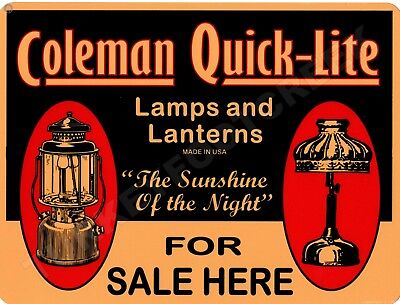 """COLEMAN QUICK-LITE SOLD HERE 9"""" x 12"""" Sign"""