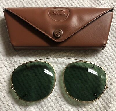 e22428f084 VINTAGE BAUSCH LOMB Clip On Sunglasses Ray Ban BL 44 Case Green Tint ...