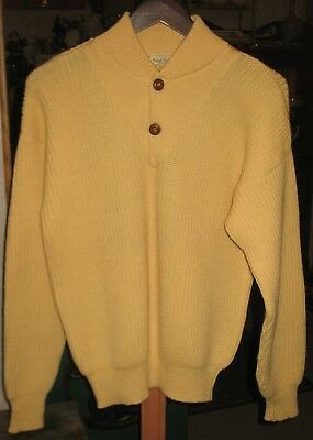 Vtg Yellow 100% Wool Paul Stuart 1/2 Button Elbow Patches Mens M Sweater Italy