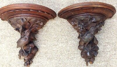 Antique Carved Black Forest Bird Wall Sconce Shelves LARGE PAIR VICTORIAN