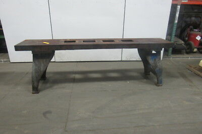 "Vintage Cast Iron Webbed Top Machine Base Work Table Bench 108x20-3/4x33-1/2""H"