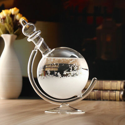 Xmas Gift Weather Forecast Crystal Bottle Globe Storm Glass Home Office Decor