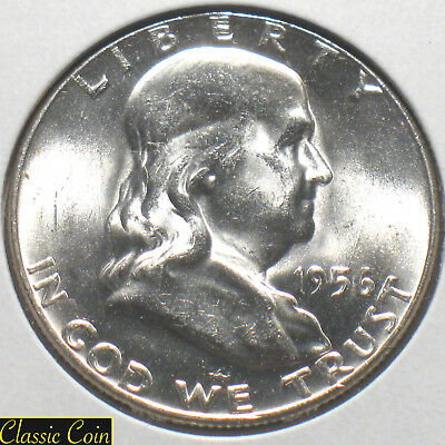 1956 Silver Franklin Half Dollar 50c BU/MS+++ 90% Silver Sharp Eye Appeal