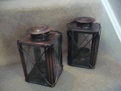 A Wonderful Pair Of Metal Candle Lanterns A Fantastic Colour And Design
