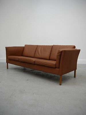 1960s VINTAGE ORIGINAL MOGENS HANSEN DANISH TAN THREE SEAT LEATHER SOFA DENMARK