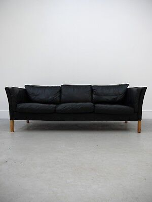 1960s VINTAGE ORIGINAL MOGENS HANSEN DANISH THREE SEAT LEATHER SOFA DENMARK