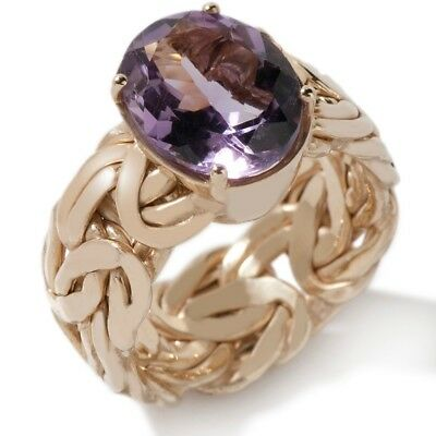 Technibond Real Amethyst Byzantine Solitaire Ring 14K Yellow Gold Clad Silver