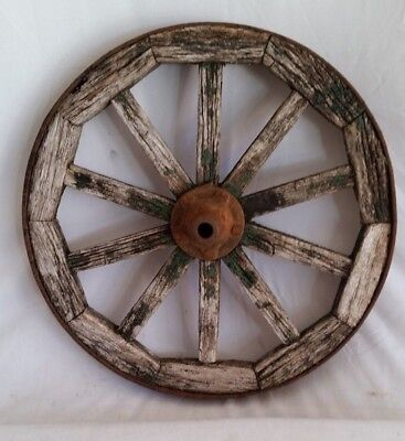 "Antique Weathered Wood Spoke,Metal Rim Wheelbarrow Wheel,17"",Riveted Iron Hub"