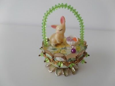 Vintage Handmade Easter Egg Basket Bunny Rabbit  Figure Beaded Diorama So Cute!