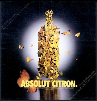 2000 Absolut Citron butterfly as vodka bottle photo vintage print ad