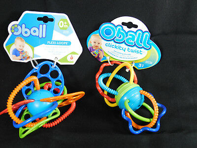 2 Kids II O Ball FLEXI LOOPS & CLICKITY TWIST TOYS New Teethers