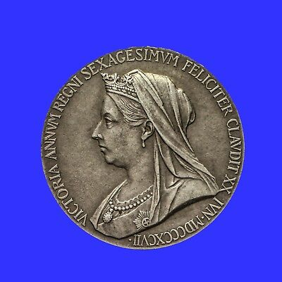 Queen Victoria Diamond Jubilee Official Small Silver Medal 1897