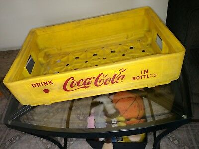 Vintage Hard Plastic Yellow 24 Bottle Coca Cola Coke Crate Carrier Tote Caddy