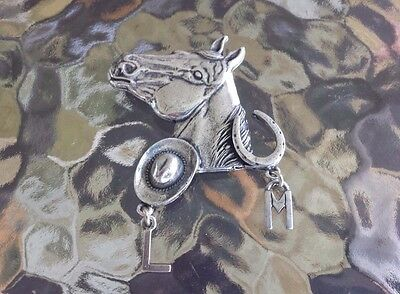 Wild Wild West WESTERN ANIMAL JEWELRY 1 HORSE PEWTER PIN With INITIALS All New.