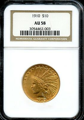 1910 $10 Ngc Au 58( About Uncirculated 58 ) Indian Head Gold Coin Ad50