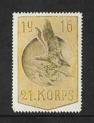 Germany - 1916 Vignette - Army 21St Korps  - Wwi Label - Eagle And Sword.