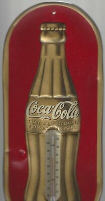 """Vintage 1937 Coca-Cola Soda Pop Christmas Bottle 16"""" Metal Thermometer Sign"""