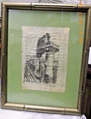 Antique  Woven Silk Picture Tapestry SIGNED Stitching Framed