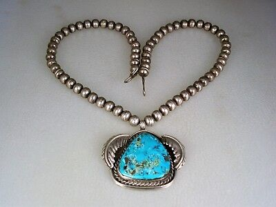 Old Navajo Sterling Silver Bead & Morenci Turquoise Necklace