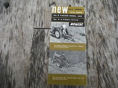 VINTAGE JOHN DEERE New for 1956 No. 8 Caster Wheel and No. 9 Mowers Brochure
