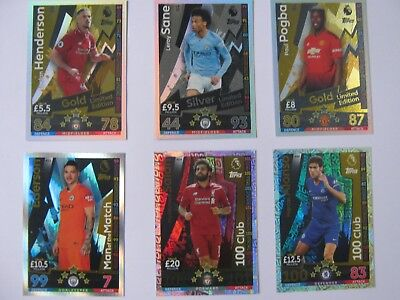 Match Attax 2018/19 Choose Limited Edition 100 club Man of the Match cards new