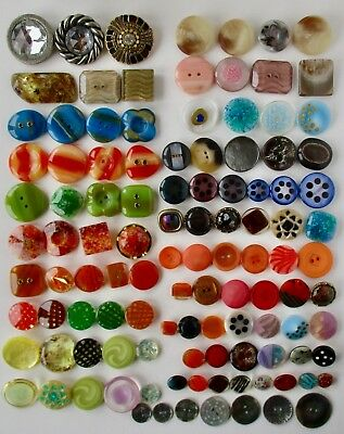 111 Vint. Plastic, Rhinestone and laser cut pearl Buttons, Made in Italy