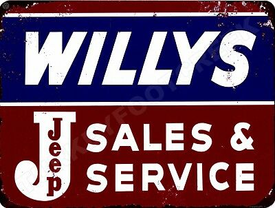 "WILLY'S JEEP SALES AND SERVICE  9"" x 12"" Sign"