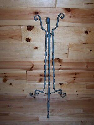 Vintage Antique Twisted Wrought Iron PLANT STAND w Flower Details & Chippy Paint