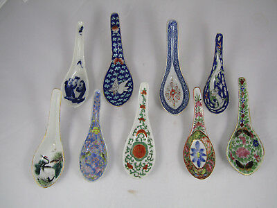 CHINESE FAMILLE ROSE SPOONS, LOT of 9 , ANTIQUE