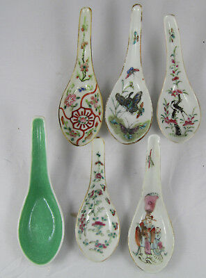 Chinese Famille Rose Spoons, Fine Lot Of 6, Antique